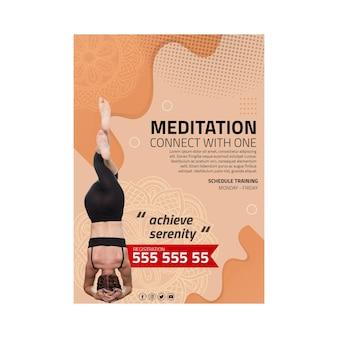 Folheto vertical de meditação e atenção plena