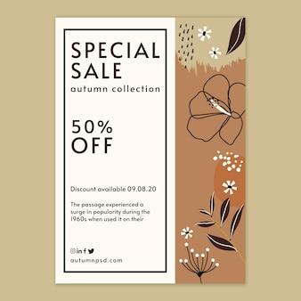 Folheto vertical de modelo de venda outono