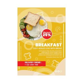 Folheto vertical de restaurante de café da manhã