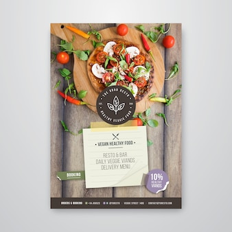 Folheto vertical de restaurante saudável