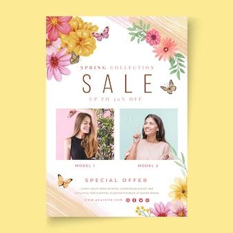Folheto vertical de venda aquarela primavera
