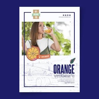 Folheto vertical laranja bio e saudável