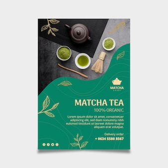 Folheto vertical para chá matcha