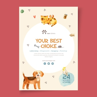Folheto vertical para clínica veterinária