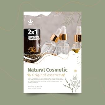 Folheto vertical para produtos cosméticos