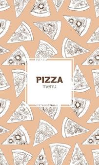 Folheto vertical, pôster ou modelo de menu com textura de pizza desenhada à mão com linhas de contorno no espaço claro
