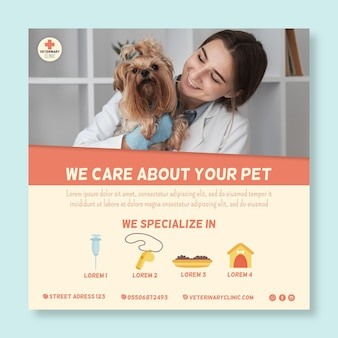 Folheto veterinário quadrado