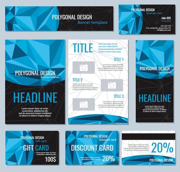 Folhetos, banners, folhetos e cartões com elementos poligonais. cartão de modelos de vetor com espaço para h