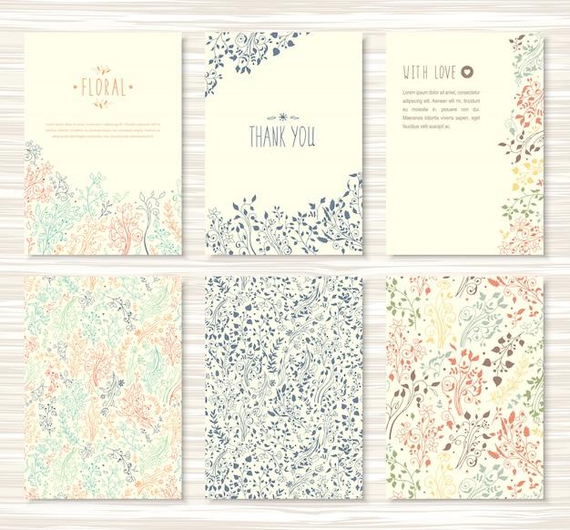 Folhetos, brochuras com padrões florais, folhas