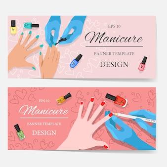 Folhetos com flatlay de manicure e produtos cosméticos, modelo para texto. estilo de desenho animado. ilustração vetorial.