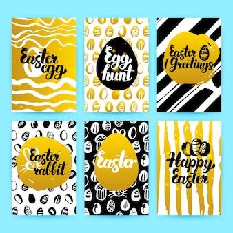 Folhetos da moda feliz páscoa ouro. ilustração em vetor de design de cartaz do estilo dos anos 80 com letras manuscritas.