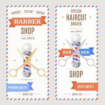 Folhetos de banners de barbearia.
