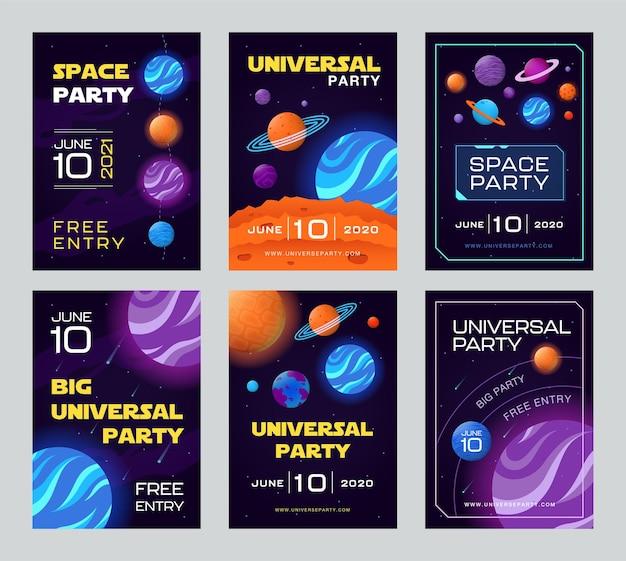 Folhetos de convite com tema de espaço aberto