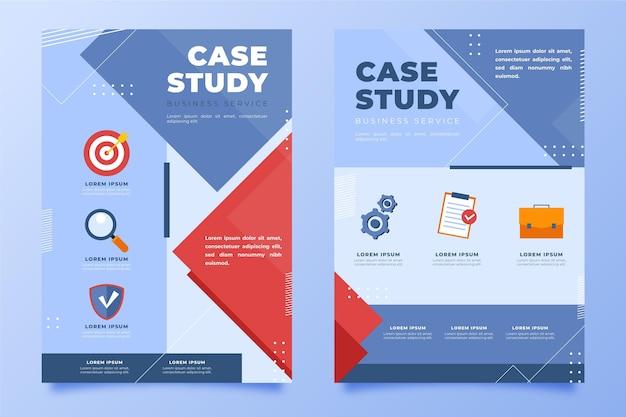 Folhetos de estudo de caso planos desenhados à mão