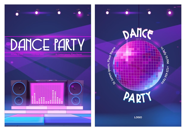 Folhetos de festa dançante com bola de discoteca e console de música dj