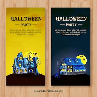 Folhetos de halloween preto e amarelo