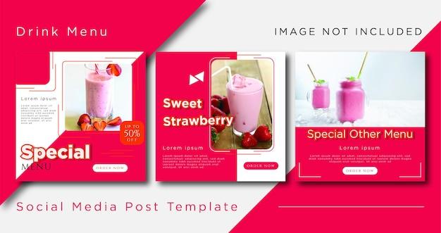 Folhetos de modelo de postagem em mídias sociais para o menu premium vector Vetor Premium