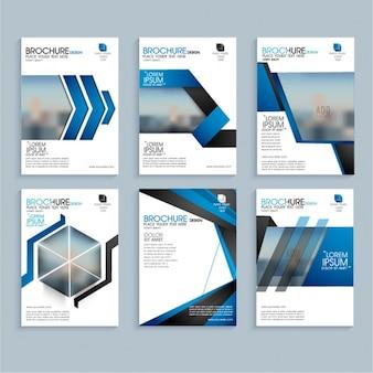 Folhetos de negócios com formas azuis geométricas