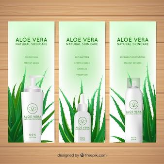 Folhetos de produtos naturais de aloe vera