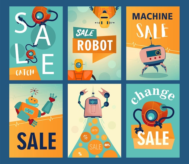 Folhetos de venda com robôs de desenhos animados. máquinas, cyborgs, ilustrações de assistentes eletrônicos com texto
