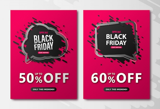 Folhetos de venda sexta-feira negra. cartazes de desconto rosa com bolhas do discurso