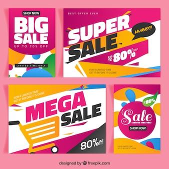Folhetos de vendas de super em estilo abstrato