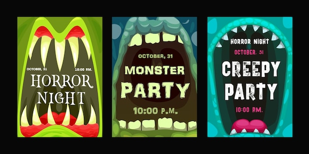 Folhetos de vetor de festa de halloween com boca de monstro, cartazes de convite de desenho animado com zumbi aberto ou mandíbulas dentadas alienígenas com dentes afiados e línguas. conjunto de cartões de convites para eventos de terror noturno de halloween feliz