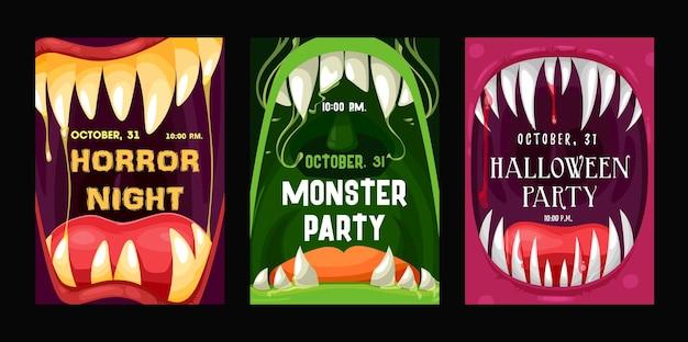 Folhetos de vetores de festa de halloween com bocas de monstro