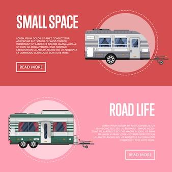 Folhetos de vida rodoviária com reboques de viagem