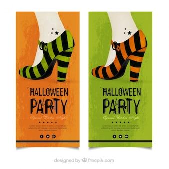 Folhetos do partido de halloween com saltos altos