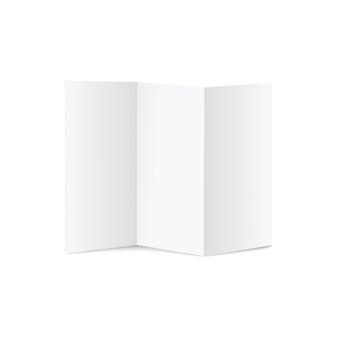 Folhetos em branco a4 com três dobras ou ilustrações realistas de brochuras.
