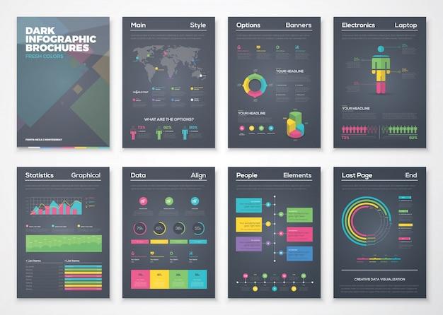 Folhetos infográficos de fundo preto com estilo colorido e plano