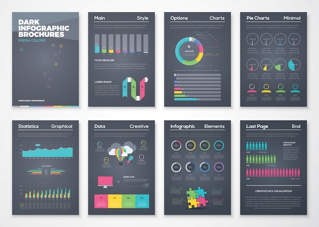 Folhetos infográficos planos coloridos com fundo preto