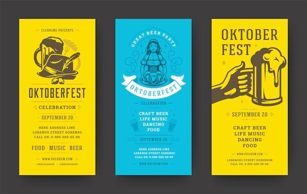 Folhetos ou banners da oktoberfest definem modelos de vetor vintage design tipográfico.