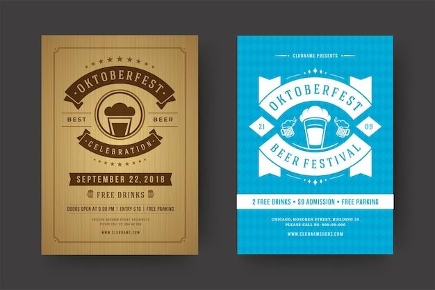 Folhetos ou cartazes da oktoberfest modelos de tipografia retrô willkommen zum ilustração vetorial de celebração do festival de cerveja