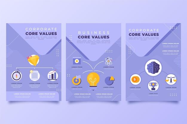 Folhetos planos desenhados à mão sobre os valores principais