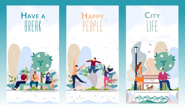 Folhetos promocionais da cidade parque recreativo vector