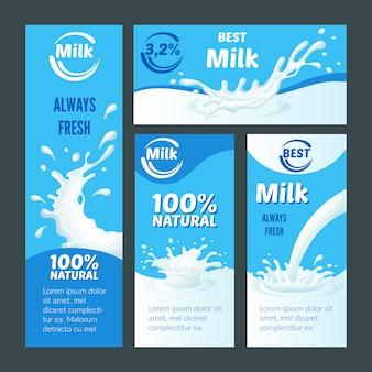 Folhetos sobre leite natural dos desenhos animados