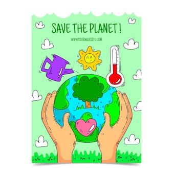 Folhetos sobre mudanças climáticas desenhados à mão