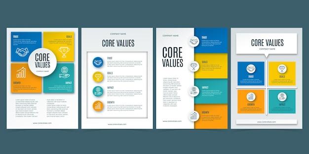 Folhetos sobre os valores centrais do estilo de papel