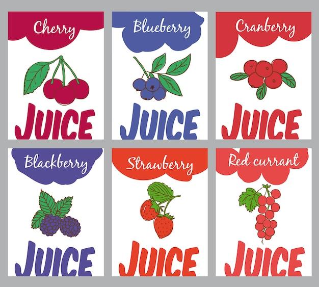 Folhetos sobre sucos naturais desenhados à mão