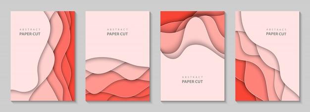 Folhetos verticais com corte de papel coral