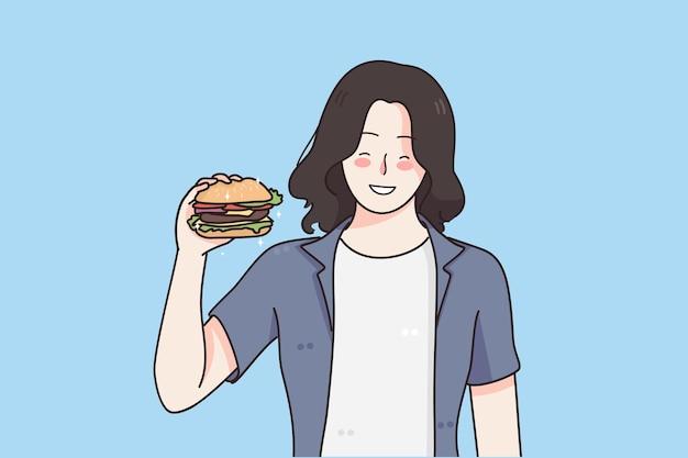 Fome de nutrição e conceito de junk food