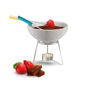 Fondue de chocolate composição realista