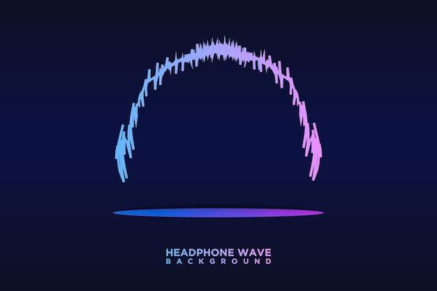 Fone de ouvido áudio onda sonora linhas de faixa equalizador colorido fundo