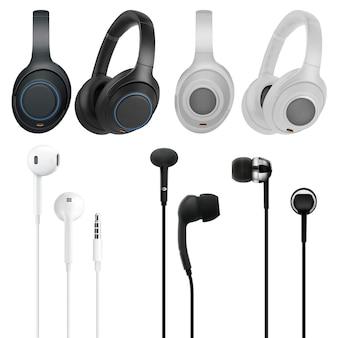 Fone de ouvido com fone de ouvido. vários tipos de ilustração de conjunto de dispositivos de fones de ouvido livres de mão.