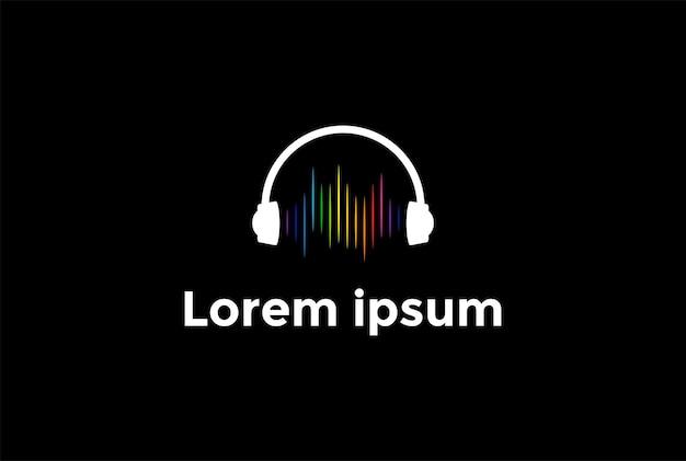 Fone de ouvido com forma de onda de som para podcast dj music logo design vector