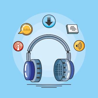 Fone de ouvido com ícones do estúdio de áudio digital