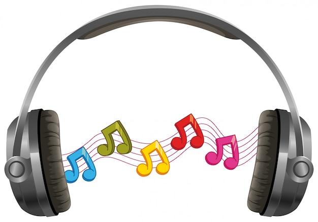 Fone de ouvido com notas musicais no fundo branco