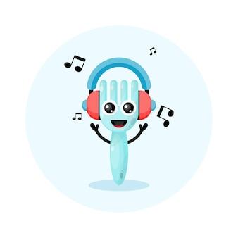 Fone de ouvido de música garfo personagem fofo